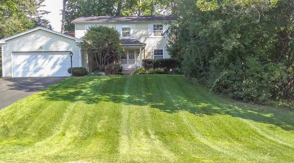 A home in Bloomfield Hills, Michigan that has been freshly mowed