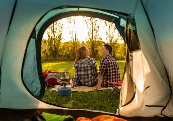 Couple backyard camping.