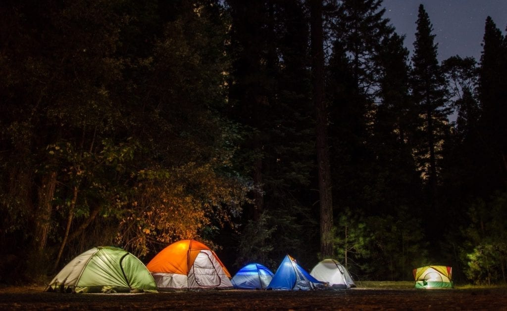 Setting up camping tents after dark can be extremely difficult!