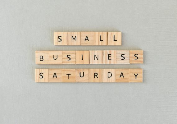 Wooden letter tiles that say SMALL BUSINESS SATURDAY